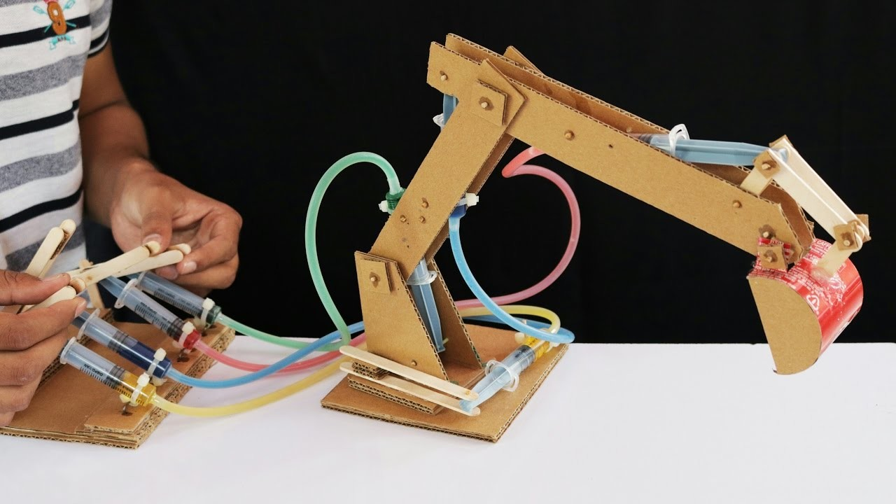 Small Hydraulic Robot Arm : How to make hydraulic jcb from cardboard