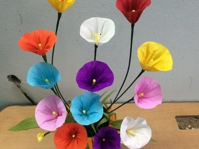How to make Morning glory paper flower - Como hacer flores de papel super facil