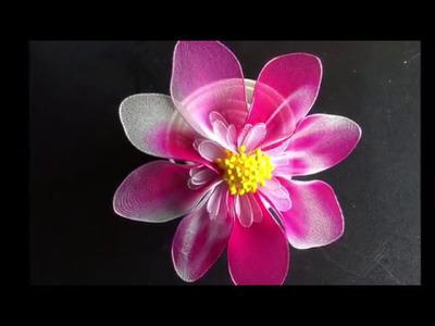 How to make nylon stocking flowers - Dahlias