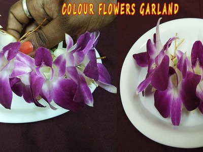 How to Make Orchid Lie String Garland With Sammangi|Bridal Making Colour Flowers Garland