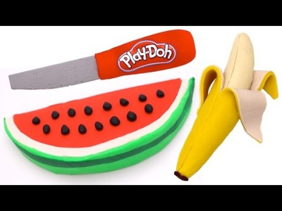 How to Make Play Doh Watermelon & Banana Fruit | Learn Colors
