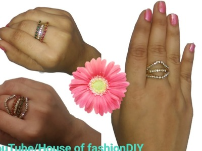 How To Make Silk Thread Rings||Rings Making With Hoop earrings.