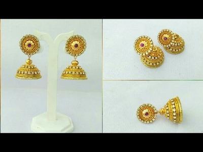 How To Make Silk Thread Earrings.Designer Earrings. Paper Earrings. Paper Jewellery Making.DIY