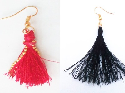How to make Silk Thread Tassel Earrings at Home