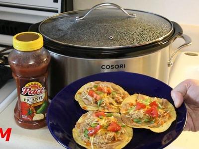 How to make Slow Cooker Salsa Chicken~Tostadas