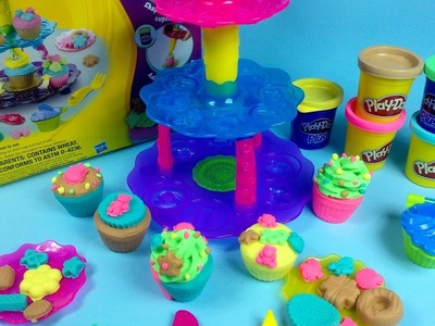 Play Doh Sweet Shoppe Cupcake Tower Toy Review - How To Make Cupcakes With Play Doh