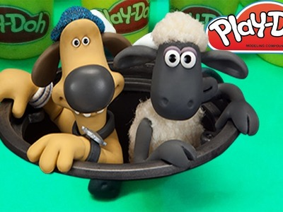 Playdoh how to make Shaun the Sheep : fishing competition between dog Bitzer and Shaun the sheep. P1