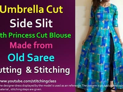 Umbrella Cut Side Slit Kurti With Princess Cut Blouse    How to Make Slit Kurti   