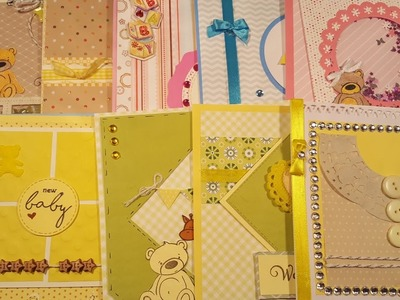 10 cards 1 kit. Crafty Ola's '' Pink baby Blue baby'' card kit