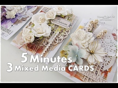 3 Cards in 5 Minutes ♡ Mixed Media Cardmaking Tutorial ♡ Maremi's Small Art ♡