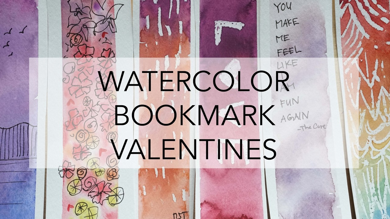 3 Ways to Paint a Watercolor Bookmark - Simple Valentine Ideas