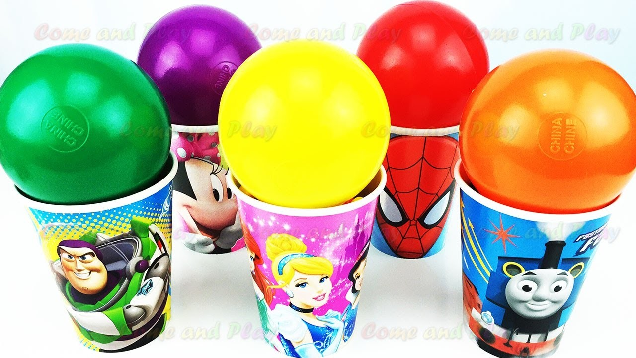 Balls Surprise Cups Disney Pixar Cars Toy Story Minnie Mouse Learn Colors Play Doh Ducks Fun Kids
