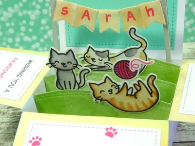 Box Card Pop up Tutorial featuring Meow You Doin' | Lawn Fawn