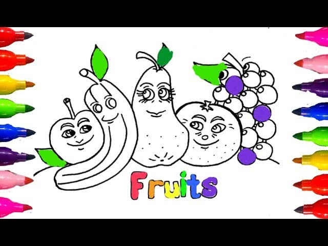 Coloring for Kids how to Draw and Color FRUITS Apple,Banana,Oranges Children Learning Colours