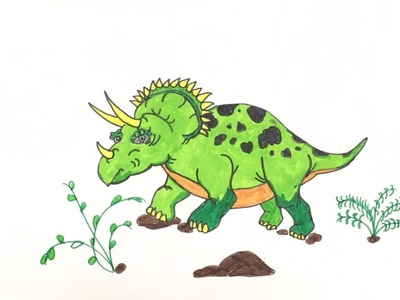 Coloring Pages Dinosaur | How To Draw Triceratops  Dinosaur | Art Colors for Kids | Learn Colors
