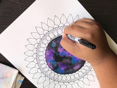 Como hacer mandala universo con acuarela paso a paso | How to draw Galaxy mandala Step by Step