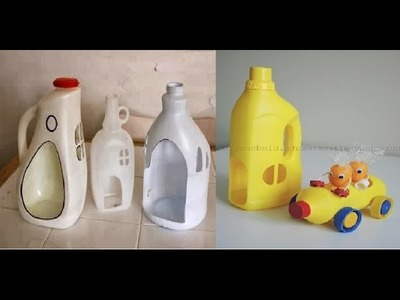 Como hacer una casa de muñecas con botellas. How to make a doll houses from plastic containers