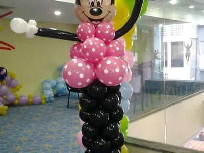 Como hacer una minnie con globos. how to make minnie mouse ballon