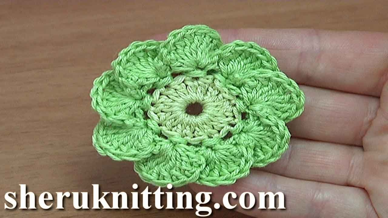 How To Crochet Flowers Thick Petals Tutorial 44 : Crochet 9-Petal Flower Tutorial 187, My Crafts and DIY ...