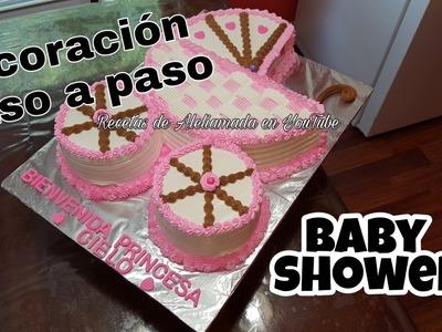 DECORACIÓN DE PASTEL EN FORMA DE CARREOLA PASO A PASO - IDEAS PARA BABY SHOWER