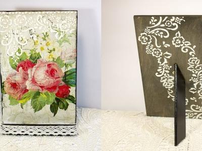 Decoupage lesson #45 DIY gift for her decoupage on wood ipad holder shabby & Elmer`s glue crackle