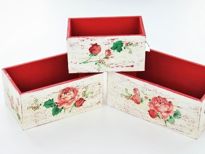 Decoupage wooden boxes - Fast & Easy Tutorial -DIY