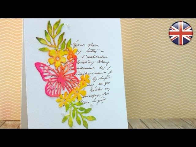 Die cut faux watercoloring. Clean and simple card. Tutorial. ENGLISH