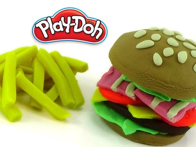DIY Play Doh Hamburger - Kid Learn Make A Hamburger Together (Surprise Toys - Creation)