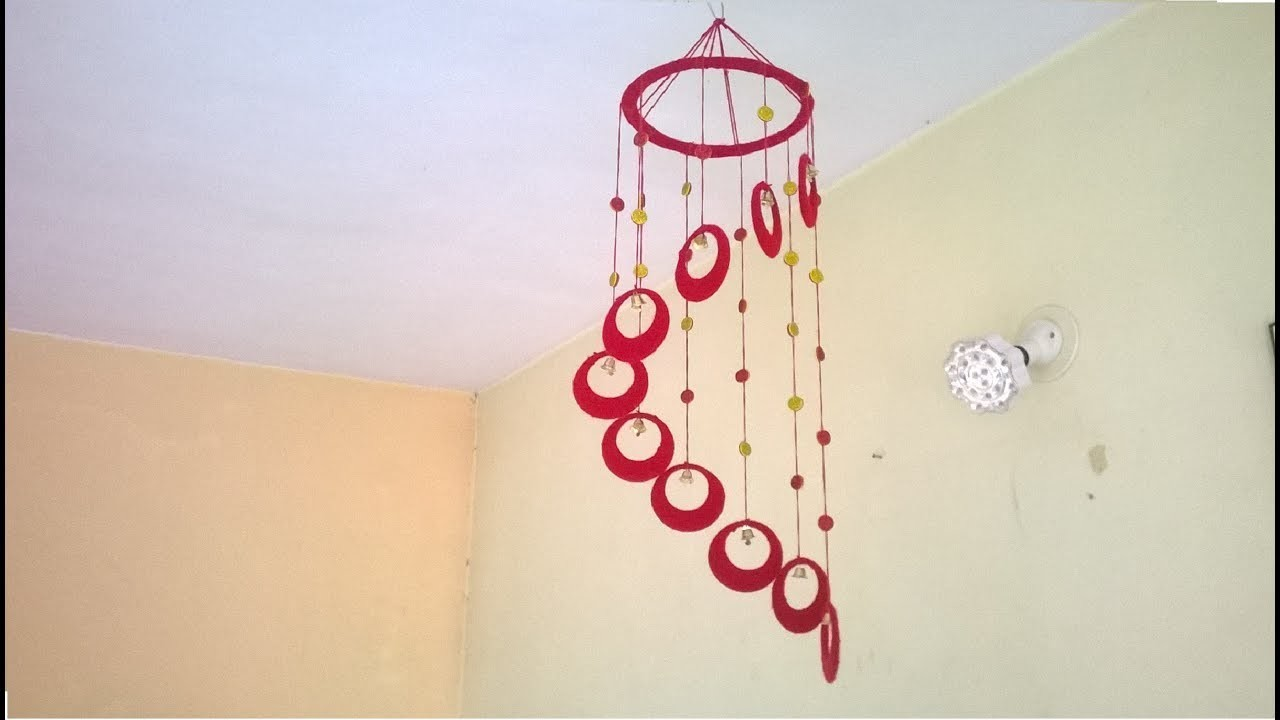 How To Make Wall Design At Home : Diy wind chime wall hanging using woolen room