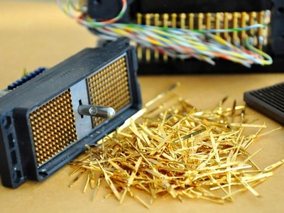 Easy Gold recovery Electronic Connectors,pins gold plated. recycling gold pin connectors
