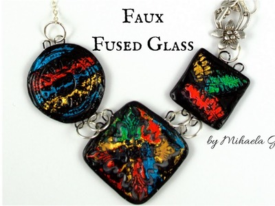 Faux Fused Glass Polymer Clay Tutorial [using nail art foil transfer]