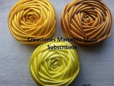 Flor Torbellino (cuatro Lados)-DIY-Flower Ribbon Easy. MASTER CLASS.Tutorial Rose Kincir