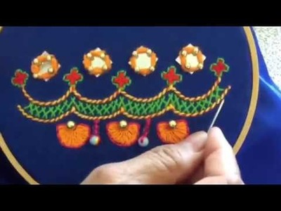 Hand Embroidery easy stitch how to make Balochi stitch with Mirror