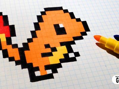 Handmade Pixel Art - How To Draw Charmander #pixelart