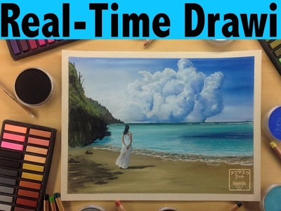 How to Color a Tropical Ocean Beach Scene with Soft Pastels | Real Time Tutorial