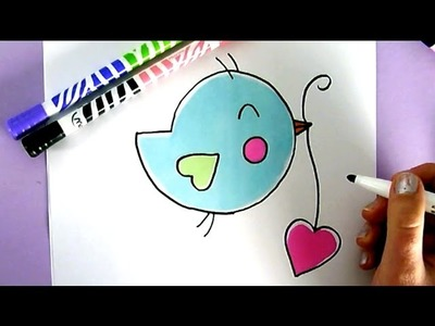 HOW TO DRAW A CUTE BIRD WITH A LOVE HEART - COMO DIBUJAR UN PAJARO KAWAII