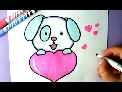 HOW TO DRAW A CUTE PUPPY WITH A LOVE HEART