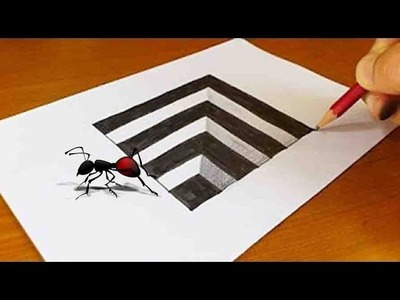 How to Draw a Square Hole in Line Paper Trick Art - How to Draw a 3D Square Amazing