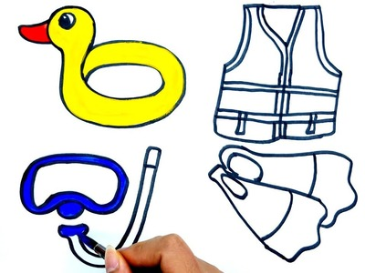 How to Draw Accessories for Diving | Kids Songs Learn Drawing | Art Colours for Children