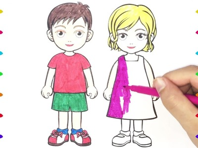 How To Draw Kids , Girl and Boy, Learning Coloring Pages for Children with Colored Markers