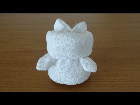 How to Make a Towel Kitty おしぼりキティちゃんのつくり方
