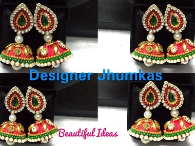 How to make Silk thread Designer Jhumkas.Earrings at Home. Easy and Simple Silk thread Earrings.