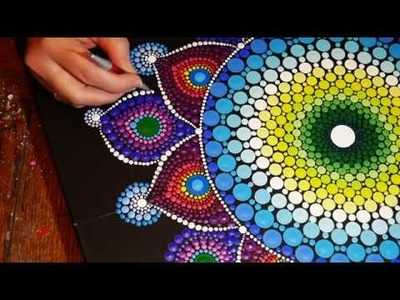 How to paint dot mandalas #14 -Part Two, large canvas practice