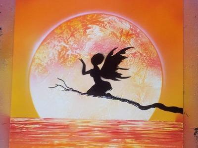 How to Spray Paint Art - Sunset Fairy Full Tutorial