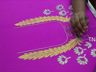 Maggam work blouse designs tutorial   hand embroidery tutorial for beginners,hand embroidery designs