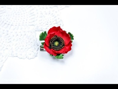Making poppy of plastic suede.
