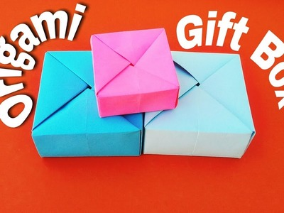 Origami Gift Box with One Sheet of Paper- How to make a paper Gift Box-Easy origami DIY and craft
