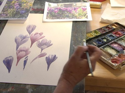 Paint beautiful crocuses in watercolor with Julie Hyde