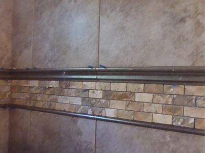 "Part ""3"" HOW TO TILE 60"" tub surround walls - Installing mosaic accent border and shelf"