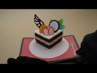Pop-up card【バースデーミニケーキ】birthday mini cake  (quarter)